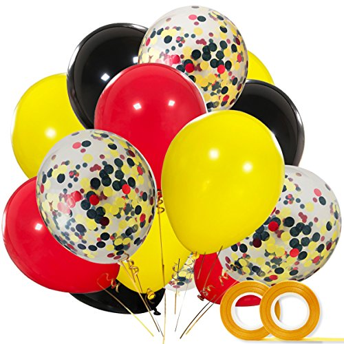 Mickey Color Balloons 40 Pack, 12 Inch Red Black Yellow Latex Balloons with Confetti Balloon for Baby Shower Birthday Party Decorations Supplies with Ribbon