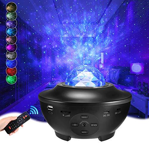 Delicacy Sternenprojektor, LED Nebel Sternenhimmel Projektor, Bluetooth Musik Star Galaxie Projektor mit Fernbedienung, Kinder Erwachsene, Party, Heimkino, Schlafzimmer, Dekoration