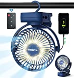 Portable Clip on Fan 12000mAh Quiet Small Desk Fan with LED Lights & Hook, 60 Hours Battery Operated Camping Fan with Clips, Mini Rechargeable USB Fan for Stroller Tent Crib Treadmill Baby Seat Home