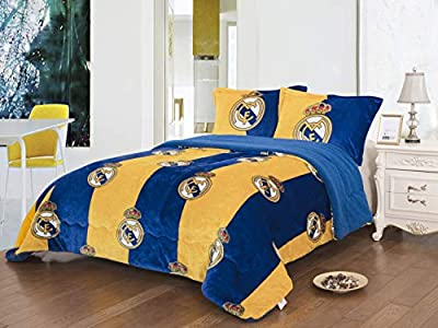 Real Madrid 3pcs Sherpa Set Queen Size, Blanket Set with 2 pillow shams