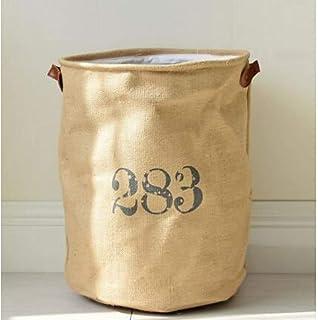 MJY Panier à linge, corde de coton pliable toile de jute coton sale salle de bain vêtements sale buanderie seaux sacs enfa...