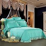 Gesteppte Tagesdecken-Set, Baumwolle, Bettbezug, einfarbig, luxuriöse Bettwäsche, 4-teiliges Set (200 × 230 cm, 220 × 240 cm) Modern M aquamarin