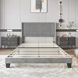 YITAHOME Upholstered Wingback Platform Bed with Headboard, Bed Frame with Wood Slat, No Box Spring Needed, Mattress Foundation (Queen)