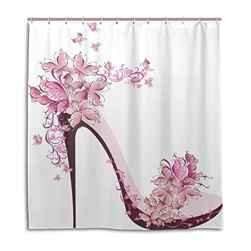 Cortinas de ducha impermeable moho a prueba de molde resistente a las niñas Rosa zapatos mariposa impreso lavable cortina de baño de poliéster con resistente ganchos 66x 72inch