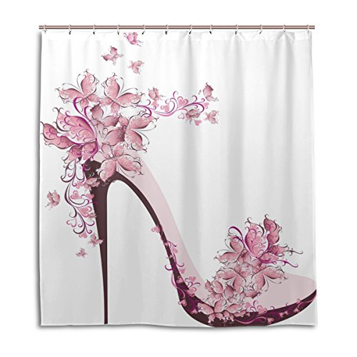 Duschvorhänge Schimmelresistent Wasserdicht Form Mädchen Schuh rosa Schmetterling bedruckt waschbar Polyester Bad Vorhang mit stabiler Haken für Badezimmer Home Dekoration Zubehör 167,6x 182,9cm