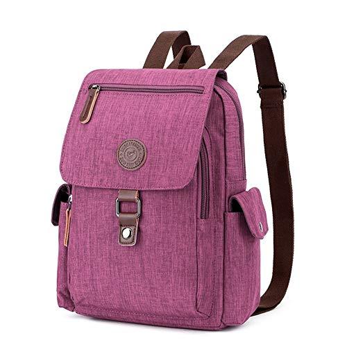 Backpack New Waterproof Handbag Shoulder Bag Outdoor Travel Multi-Function Men and Women Bag OL Universal Shoulder Rucksack (Color : Purple)