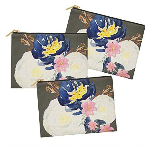 S4Sassy Gris Dahlias et pivoines Floral Lot de 3 Sacs à Maquillage Maquillage-6 x 8 Pouces