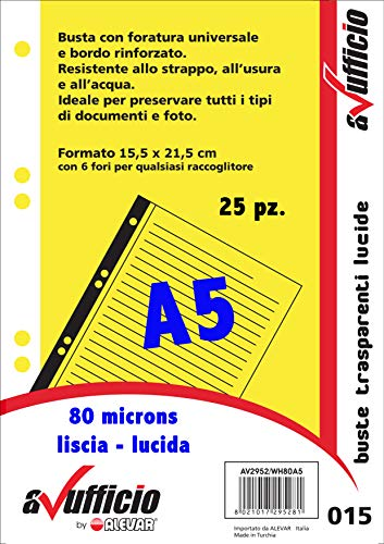 Buste a Foratura Universale Liscio F.To A5 015 Conf. 25 Pz.