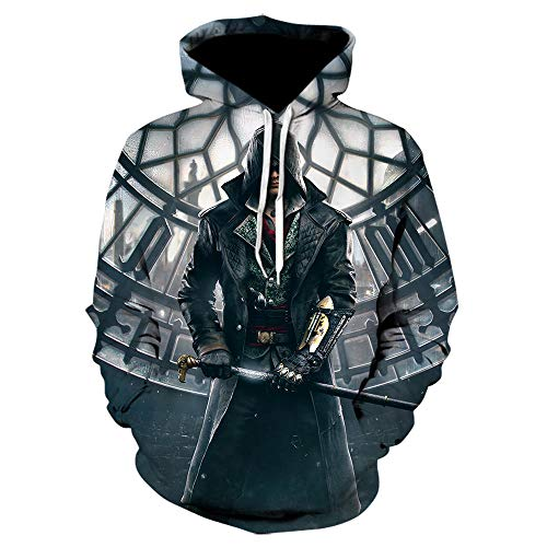 TSIgorjds Sudadera con Capucha Estampada En 3D para Mujer Assassin'S Creed Camiseta Casual De Manga Larga Estampada con Estampado Negro para Niños-We-961_XL.