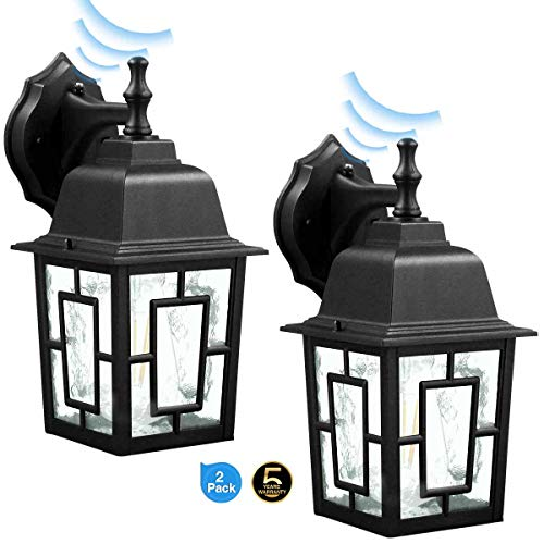 Dusk to Dawn Sensor Outdoor Wall Lantern Waterproof Exterior Wall Mount Lights Wall Sconce as Porch Light,1100 Lumen, Aluminum Housing Plus Glass, Matte Finish, Outdoor Rated,Black for 2Pack 9031