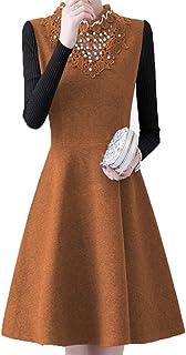 美しいです] 秋と冬の新しいウールのドレス、レースのビーズニットスリーブのボトムスカート