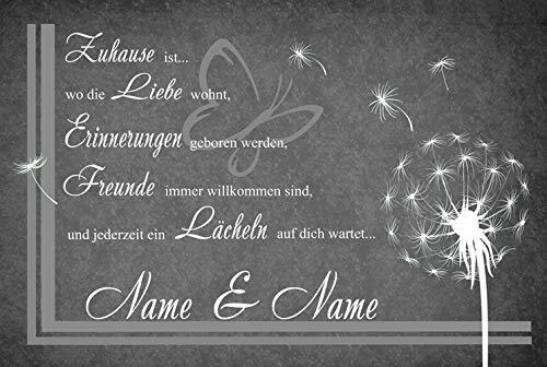 Eule-Design Persönliche Fußmatte Pusteblume mit Namen Ihr Geschenk für Familie und viele Anlässe ürvorleger (Dunkel grau)