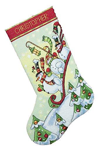 DIMENSIONS - Juego de Punto de Cruz para calcetín de Navidad (diseño de muñecos de Nieve en Trineo)