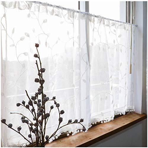 Cortina Corta de Bordado Translucida Moderno Ventana Visillos para Cocina Balcon Salon Habitación Media Cortina Decorativos, Borla 110×80cm Blanco