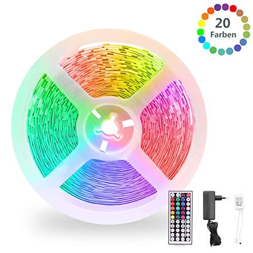 LED Strip RGB 8m, LED Leiste, LED Band, LED Streifen Strip lichterkette leiste 8m Lichtband mit Fernbedienung Selbstklebend für Zuhause, Schlafzimmer, TV, Schrankdeko, Party