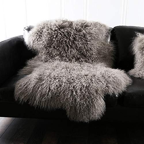 HNFJC Teppich Natürlicher gelockter mongolischer Schaffellfellteppich aus echtem tibetischem Schaffell, Deko-Fellkissen, Hellgrau, 90x50cm