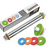 Delihom Stainless Steel Rolling Pin Thickness Rings Adjustable Rolling Pins for Baking, Pasta, Pizza, Pie, Cookies 17inch