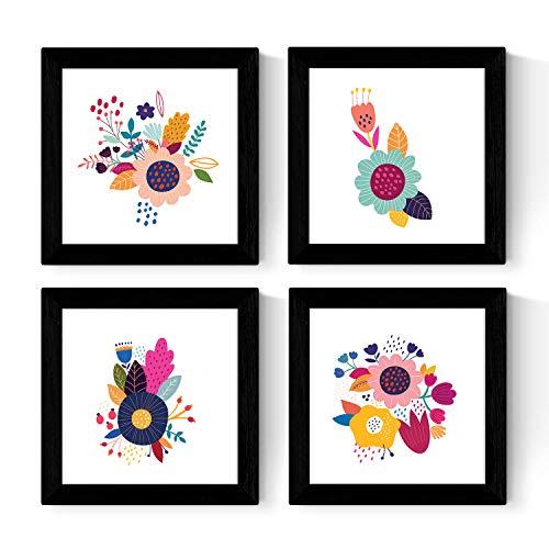 Nacnic Set de Cuatro láminas cuadradas con Ilustraciones de Flores Multicolores Tamaño 30x30 cm Estilo escandinavo nordico con Marco