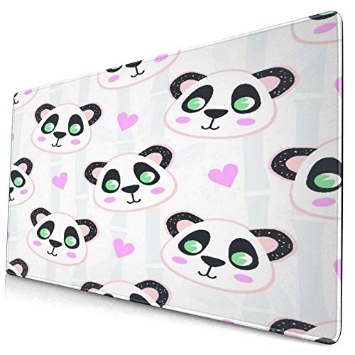 """Extra Large Gaming Mouse Pad with Stitched Edges,Cartoon Panda and Bamboo,Non-Slip Rubber Base Computer Keyboard Mat,29.5"""" x 15.8"""""""