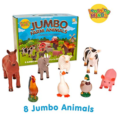 Learning Minds Set von 8 Jumbo Farm Tierfiguren - 18 Monate +