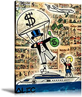 Artcgc Alec Monopoly Money Parachute Wall Art Home Wall Decorations for Bedroom Living Room Oil Paintings Canvas Prints 3 Sizes-174 (Unframed,24x32inch)