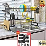 Topkitch Over The Sink Dish Drying Rack (34.5') black (New Upgrade) With Utensils Holder, stainless steel (Sink size≤34.5in) counter space + Pot Rack Organizers Bonus
