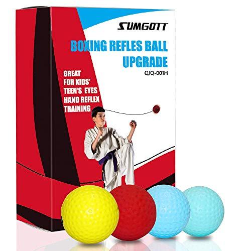 Reflex Ball Set 4 Level React Reflex Ball für Kinder Reaktionsgeschwindigkeit Genauigkeit Krafttraining Boxball mit Stirnband Boxen Handbandagen