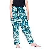 Lofbaz Boho Pantalones con Bolsillos para Hombres Yoga Pijamas Ropa de Sport de la Playa de la Ropa del Adulto Hombre Elephant 17 Verde Azulado S