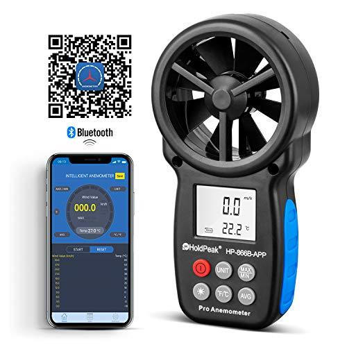 HoldPeak HP-866B-APP Anemómetro Digital de Mano Para medir la Velocidad del Viento, la Temperatura y el Viento Frío, con Retroiluminación LCD y Retención de Datos, con Conexión a la APP