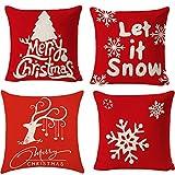 HIQE-FL Leinen Dekokissen,Kissenbezug Weihnachten 45x45,Dekorative Kissenhülle,Kissenhülle Weihnachten,Weihnachten Kissenbezug Rehntier,Kissenbezug Weihnachtsmotiv