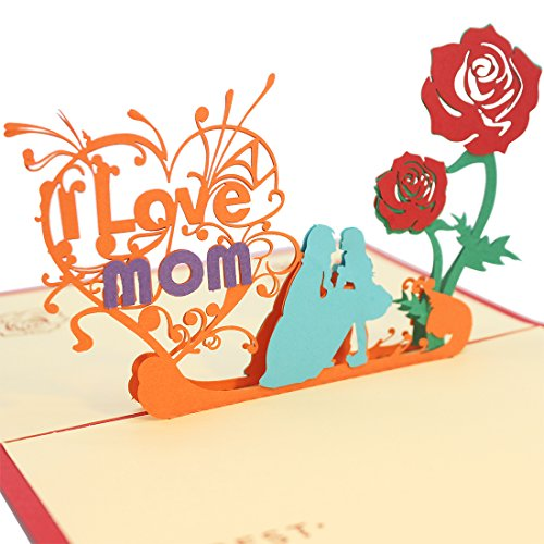 Creawoo Beautiful 3D Pop Up Mom Greeting Card for Mom, Mother's Day and Birthday Greeting Card. I Love Mom Card with Envelope.