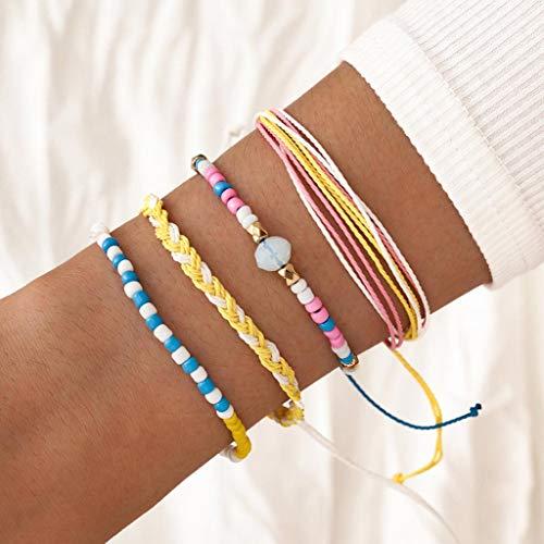 Branets Juego de pulseras de cuentas de estilo bohemio, con cuentas de colores tejidos, joyería de cadena de mano para mujeres y niñas (4 piezas)