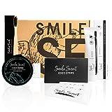 Zahnbleaching Set Aktivkohle Pulver Set Coco Bundle Coco Smile Bambus Zahnbürste Aktivkohle Zahnpasta Set CocoStrips Streifen für Zahnaufhellung weiße Zähne Bleichsystem von Smile Secret