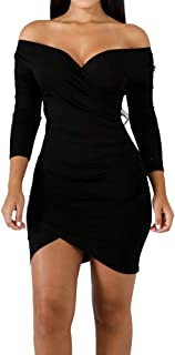 ECHOINE Women's Sexy Off Shoulder Deep V Neck Stretch Long Sleeve Ruched Bodycon Party Mini Dress