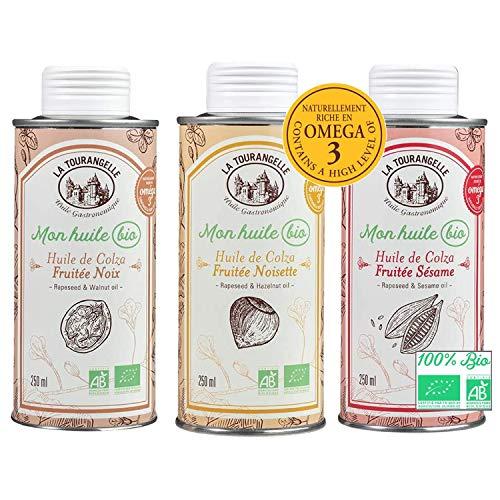 La tourangelle Pack de 3 Huiles Gourmandes Bio Riches en Oméga 3 (3 x 250 ml)