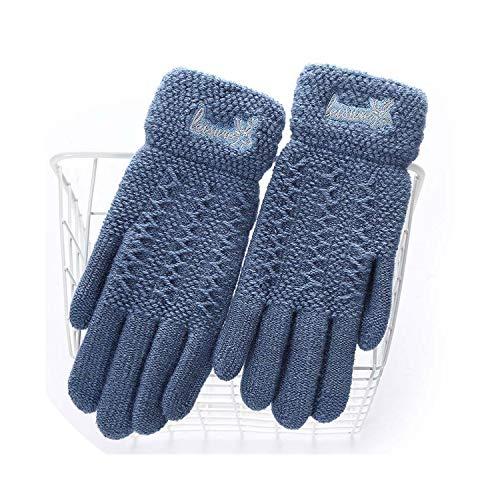 18E Damen Winterhandschuhe, warm, süßes Cartoon-Design, für Touchscreens, für Damen, weiche Finger, Schwarz, Damen, E Sea Blue, oneszie