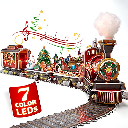 3D Puzzle for Adults Kids LED Christmas Train Sets for Under Christmas Tree, Musical Steam Santa Express Christmas Decorations with Lights, Christmas Decor Model Kit, Gifts for Women Men, 218 Pieces