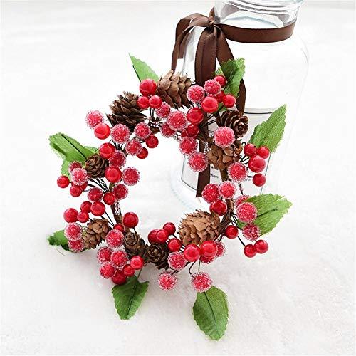 mysticall Künstlicher Beerenkranz, künstliche Blumengirlande Dekor Tannenzapfen Rattan für Weihnachten Thanksgiving Tür hängen Glocke Anhänger