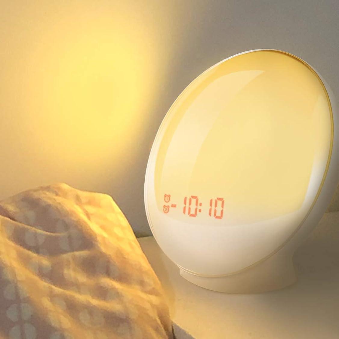 屋内でつなぐ砲撃目覚まし時計を目覚めると 目覚まし時計の光デジタルスヌーズ自然な夜の光時計の日の出カラフルな光と自然音FMラジオ,B