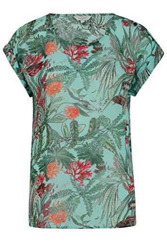 FROGBOX Damen Bluse mit Meeresdruck und überschnittener Schulter