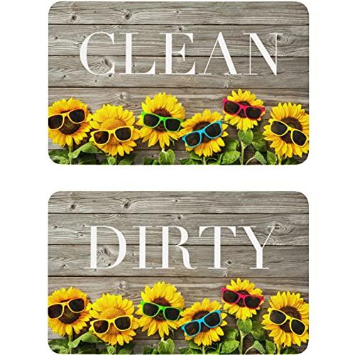 Vnurnrn Clean Dirty Gafas de sol de girasol de madera imán para lavaplatos refrigerador placa magnética placa decorativa para cocina oficina arandela indicador 2 piezas