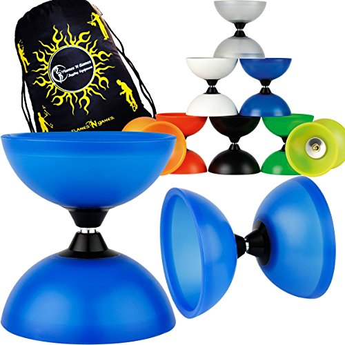 Henrys VISION Medium/Large Diabolo + Travel Bag! Wide Fixed-Axle Spinning Diablo for Intermediate and Experts!No handsticks included (Clear)