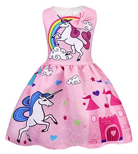 AmzBarley Vestido Unicornio de Las Muchachas Vestidos de la Princesa sin Mangas para la Fiesta de Lujo de los Cabritos