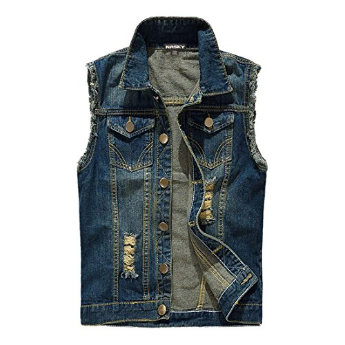 NASKY Men's Fit Retro Ripped Denim Vest Sleeveless Lapel Jean Vest Jacket Waistcoat Top Plus Size X-Large