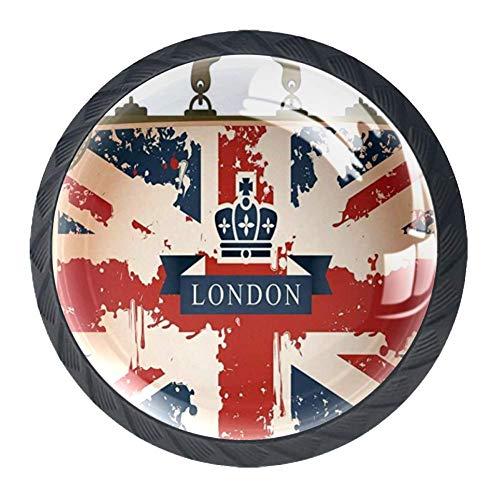 Valigia da viaggio con bandiera britannica Nastro e corona di Londra Pomelli per Porta 4 Pezzi Manopole per Mobili da Cucina Pomelli per Mobili Pomelli Per Cassetti/Cucina/Armadio Antichi