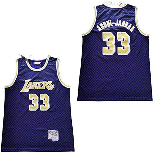 NBALL-TT Lila Jersey Los Angeles Männer Lakers 33# Kareem Abdul-Jabbar Retro Basketball Shirts Trikots Uniform Bestickte Jacken Basketball Wear,XL