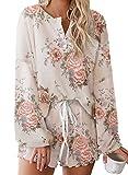 Elapsy Womens Casual Soft Jersery Floral Print Pajamas Set Drawstring Elastic Waist Frill Short PJ Set Sleepwear Lounge Wear Pink XXL
