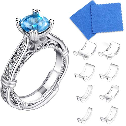 16 Packs Ring Size Adjuster Invisible Ring Size Adjuster for Loose Rings Ring Adjuster Size Fit Any Rings Ring Guard Spacer (8 Sizes)