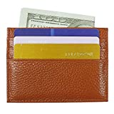 Small Credit Card Holder Minimalist Wallets Leather Card Holder Pocket Wallets for Men Women (Brown)