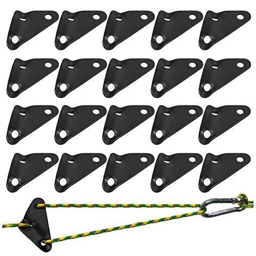 Aluminiumlegierung Guyline Zeltleinenspanner, BETOY 20 Stücke Dreieck Guyline Zelt Seil Cord Adjuster Zelt Spanner Seil für Zelt Wandern Camping(Schwarz)